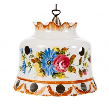 Keramikpendelleuchte handbemalt Campana Fiore aus Italien