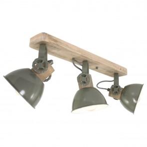 Deckenstrahler Vintage Industrie Style 3-flammig in oliv-grün